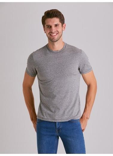 Dufy Melanj Bısıklet Yaka Erkek T-Shirt - Slim Fit Gri